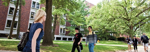 Students walking outside the English Department