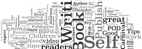 image of words related to publishing and writing in random compilation