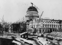 The white house dome being constructed in 1864