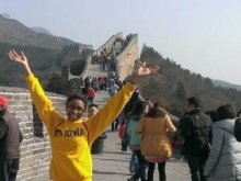 A student on the Great Wall of China