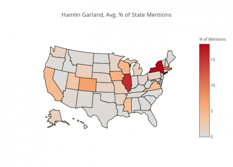 "Map of ""Hamlin Garland, Avg. % of State Mentions"""