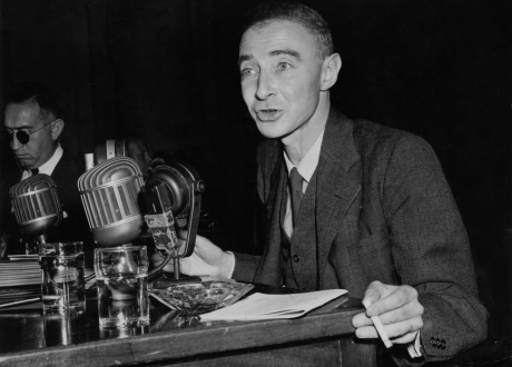 J. Robert Oppenheimer at meeting of the Joint Atomic Energy Committee, in June 1949
